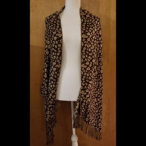 Leopard Print Fringe Scarf